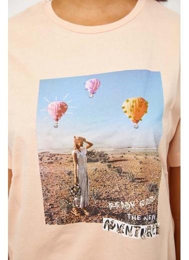 Setre Yavru Ağzı Kısa Kol Baskılı T-Shirt Pembe